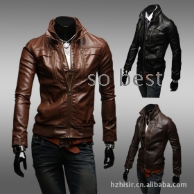 Designed Men's PU Leather Short Slim Fit Top Jacket Coat Outerwear Sexy 3 color