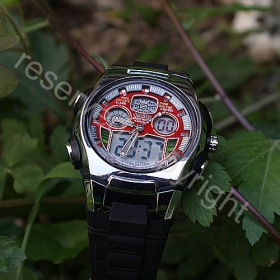 Red DUAL DIAL TIME SHOW 30M WATERPROOF DIVER MEN'S SPORT WATCH OHSEN FOR MAN(A309RE)