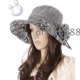 Promotion price!!! free shipping brand new women's Summer uv beautiful big flowers along cap bask cap w13