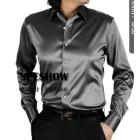 free shipping brand new shiny silk satin long-sleeved shirt Men's SA014 long sleeve clothing goodagain668