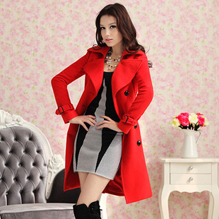 Free shipping Red double-breasted wool coats (including belt),women clothes