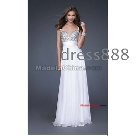 2012 Glamourous spaghetti strap chiffon beading  dress evening dresses prom dresses ball gown wedding dress free shipping
