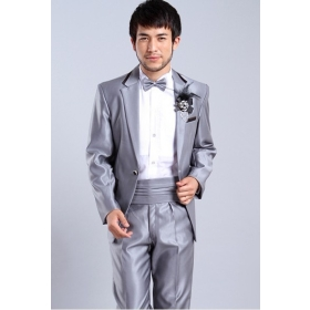 2012 Bright Grey Color Groom Dress Suit 4 Pieces Set(Jacket Pants Bowtie Waist-pape) Man Wear Dress Groom wedding dress free shipping