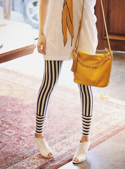 Colored Striped Tights Striped Leggings Tights