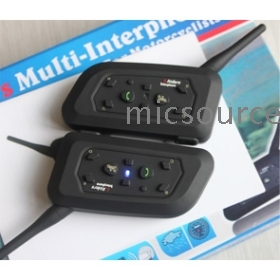 2pcs/lot (1 pair) 6 Riders Multifunctional  interphone V6  intercom 1000 Meters and mobile phone call function Music function for motorcycle riding, skating, firefighting, in public