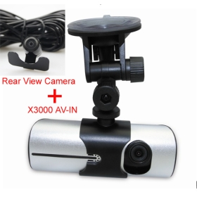 X3000 double lens Rear camera GPS G-Sensor Built-in car dvr, 120 degrees wide-angle Super High Definition car black box 2.7 inch display Motion detection Free Shipping