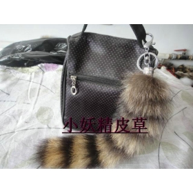 $699 fashion gray brown foxtail cell phone chain bag hanging charms fur tail Keychain fur key ring fur pendant fox tail for bag keychain