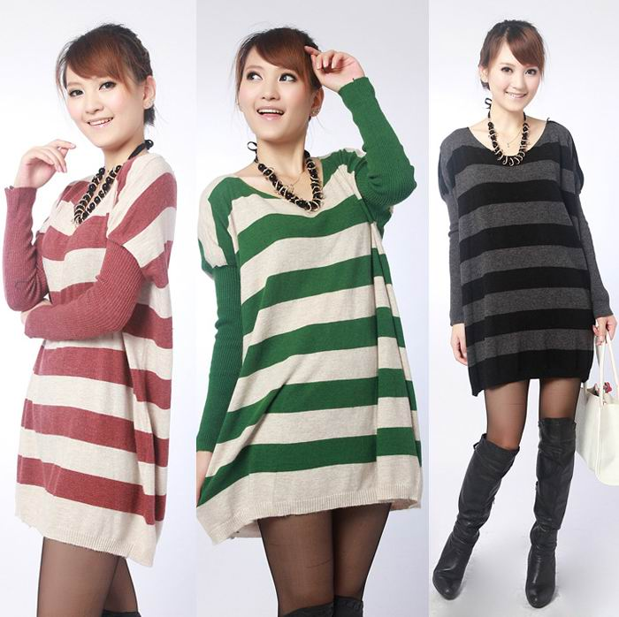 Casual round neck long sweater striped sweater   Wholesale Casual