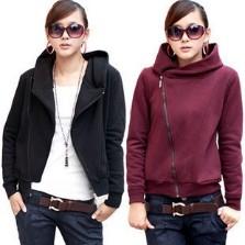 Free shipping New Women's /girl's coat fashion leisure modern Hooded Fleece coat underwear with zipper