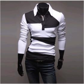 Mens T-shirt  Shirt Long sleeve Slim Casual Shirt Black and white stitching Cotton M L XL, New Arrival  CR14