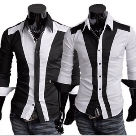 men's Perfect stitching men cultivating long-sleeved shirt to spell color shirt Casual shirt M L XL  Black,White