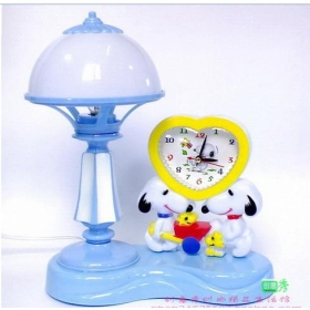 Lovely snoopy desk lamp + pointer type small alarm clock bedroom desk lamp berth lamp of combination of fashionable romance
