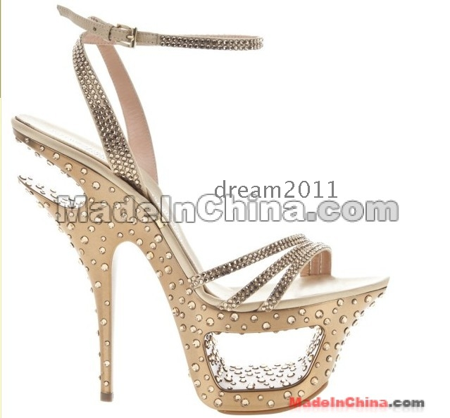 Colorful Crystal Evening Party Shoes, Double Platform Jeweled High Heel Shoes