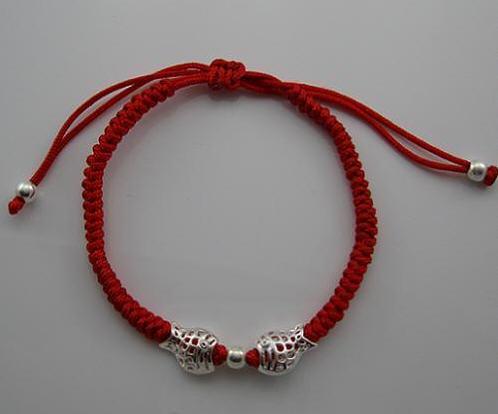 Handmade red string silver bracelet charm bracelet 7681097 3 bak jpg