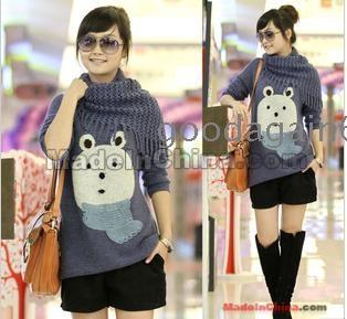 Women's loose fashion cartoon embroidered scarf bear medium style sweater band collar