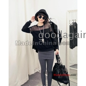 Black and white sexy woth yarn coat splicing long sleeve T-shirt coat