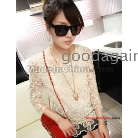 Lady double  hook flower hollow out loose child unlined upper garment