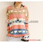 Love pattern hollow out contrast color knit unlined upper garment overall sweater female