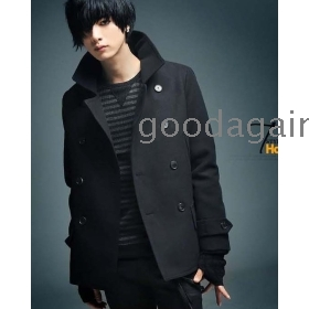 F3 free shipping   New han edition male coat double-breasted coat dust  goodagain668