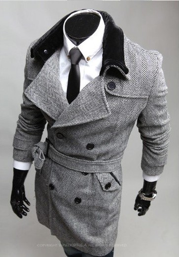 Free Shipping New winter Huagang with fur collar men's double-breasted trench coat 5621 Color