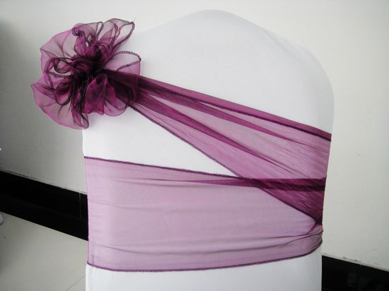 Purple Chair Cover Sash Chair
