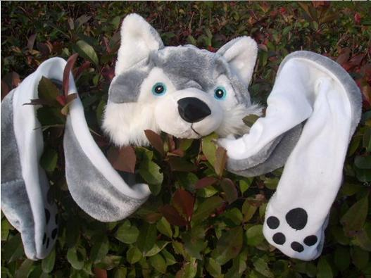 05a51a7a9d44d  CPAP Free Shipping  Wholesale Plush Cartoon Wolf Hat With Scarf And Gloves    Halloween
