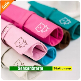 [CPA Free Shipping] Wholesale Solid Color Cute Cartoon Fabric Pen Bag / Pencil Case Stationery 10pcs/lot (SP-63)