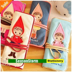 [CPA Free Shipping] Wholesale Little Red Riding Hood Pen Bag / Pencil Case Stationery 10pcs/lot (SP-64)