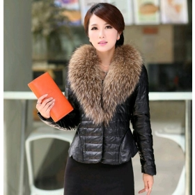 Leather Jacket With Fur Collar For Women | Outdoor Jacket
