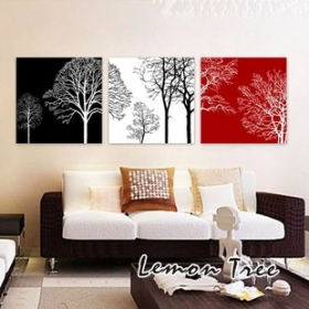 Free Shipping Fortune Tree Modern Decorative Painting The Living Room Triple Frameless Paintings 30