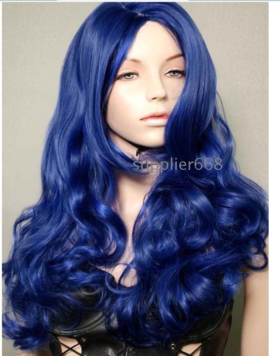C019 Dark Blue Long Animation Cosplay Wig Ship Wholesale