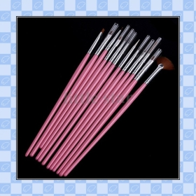 12pcs Pink Nail Art Painting Brush, Free Shipping    lh94567