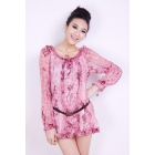 Free shipping 2012 new women's fashion Crinkling fashion serpentinite chiffon shirt 419B-042 t-shirt irt dresses