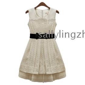 Free shipping women dress,ladies dress, lace dress, temperament slim sleeveless vest dress