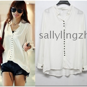 Free shipping summer women's white shirts outerwear,women blouses