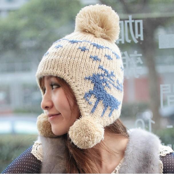 f45607246b0 Free shipping Korean Winter hat woman wool balls warm hat deer ear  protection hat HA210