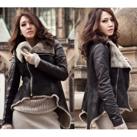 Free Shipping 2012 Winter New women's motorcycle leather jacket, irregular hem FUR ONE warm coat