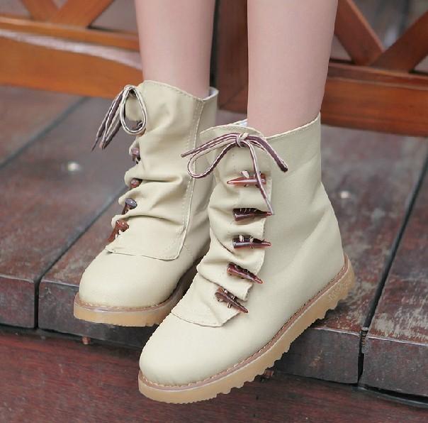 2012 Fashion S Flat Bottom Buttons Boots Korean U2013 Wholesale 2012 New Fashion Womenu0026#39;s Flat Bottom ...