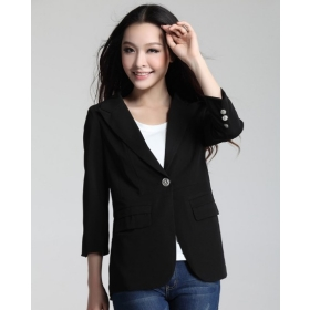 Free shipping New Fashion Women's Chiffon small suit jacket black suit woman suit 8027