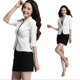 Free shipping New Fashion Women's Slim white suit jacket women autumn new suit 8031