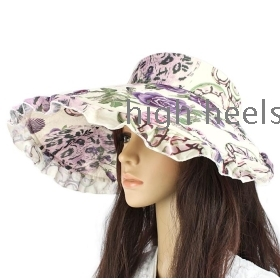 Fold the top hat shading empty summer lady big eaves, the sun hat uv rural cap