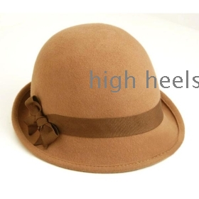 Choke XiaoLaJiao mouth British pure wool hat? Small jazz cap dome cap the old man hat female