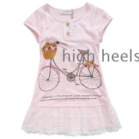 Children's clothing girls chun xia hold 2012 han edition girls short-sleeved dress miniskirt gauze skirt vest