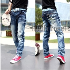 High quality and low waist MiZiQi man  whisker han edition straight bottom jeans (a big yards)