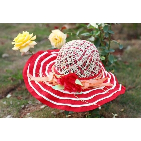 Travel trips fashion flowers braided straw hat sunbonnet along the beach big female hat