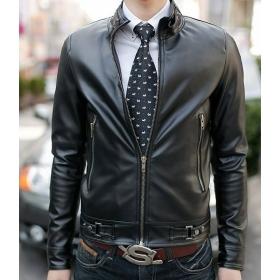Top quality Korea Men's Slim standup collar Men's hoodie Leather Jacket coat #07