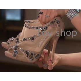 New female shoes  crystal shoe mouth fish follow sandal high sandals