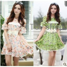 Fashionable new summer  temperament of broken flower sleeve dress send belt