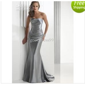 stock Strapless Satin Silver Prom Ball Party gowns Evening dresses size 4-16