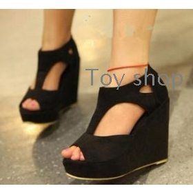 Sweet summer hollow out fish mouth sandals wedges thick comfortable with women of high shoes